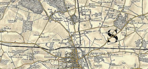 Map of Suffolk, including Fornham All Saints, 1896-1904